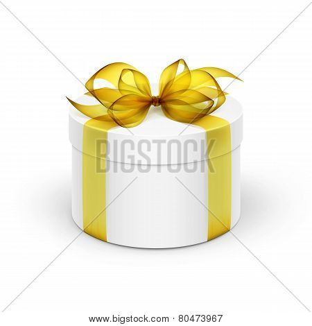 White Round Gift Box with Yellow Ribbon and Bow Isolated on Background