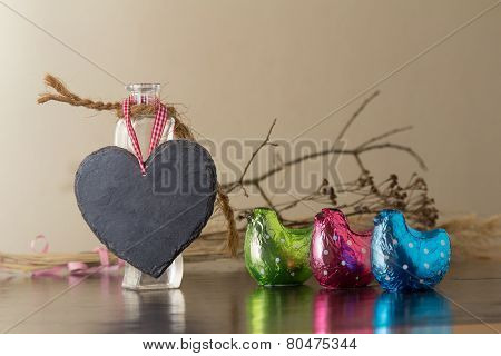 Heart With Colorful Easter Chickens