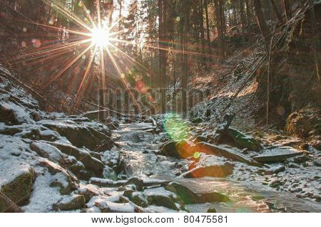 Winter Creek In  The Valley In  Parkland In February In Sun Shine