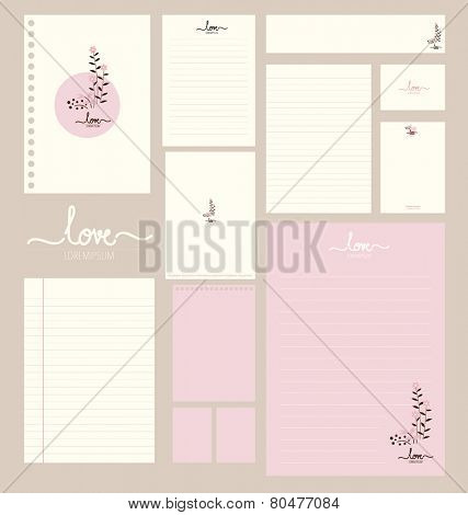 Collection of various paper designs (paper sheets, lined paper, note paper, postcard and envelope)