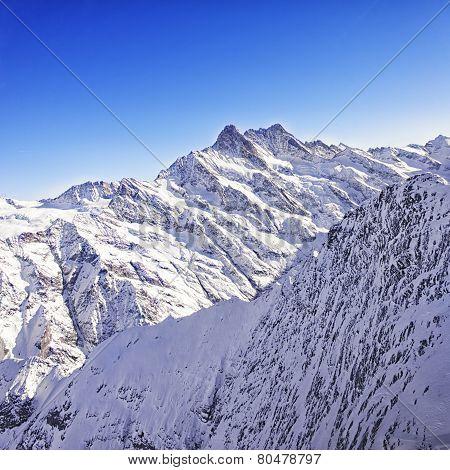 Jungfrau Region Peaks Helicopter View In Winter