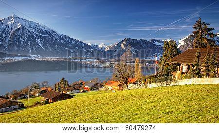 Sunshine Near Thun Lake In Switzerland Alps In Winter