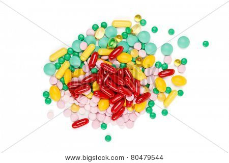 Vitamin supplements, isolated on white background