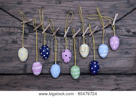 Many Colorful Easter Eggs Hanging On Line