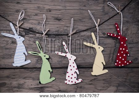 Many Easter Bunnies Hanging On Line