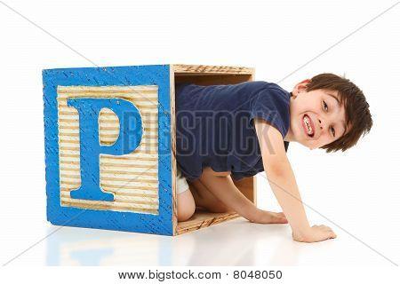 Boy In A Giant Alphabet Block Letter P