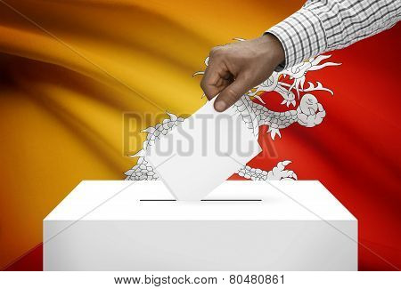 Ballot Box With National Flag On Background - Bhutan