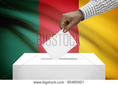 Ballot Box With National Flag On Background - Cameroon
