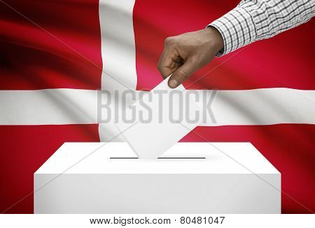 Ballot Box With National Flag On Background - Denmark