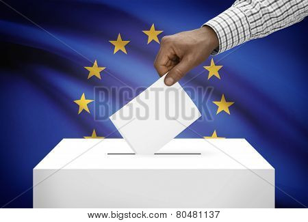 Ballot Box With National Flag On Background - European Union - Europe - Eu