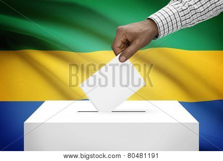Ballot Box With National Flag On Background - Gabon