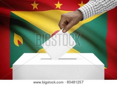Ballot Box With National Flag On Background - Grenada