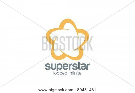 Logo Abstract Star Five point infinity loop vector design template. Infinite looped Logotype icon Superstar concept.