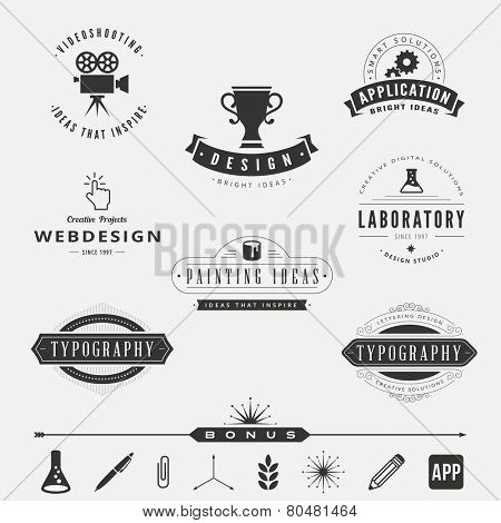 Retro Vintage Labels Logo design vector template set.  Old style elements, business signs, logos, label, badges and symbols. Design Studio Logotype collection: typography, video shooting, webdesign