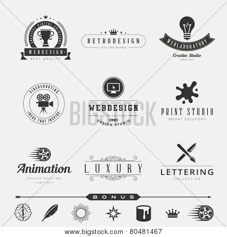 Retro Vintage Labels Logo design vector template set.  Old style elements, business signs, logos, label, badges and symbols. Design Studio Logotype collection: webdesign, video, animation, lettering