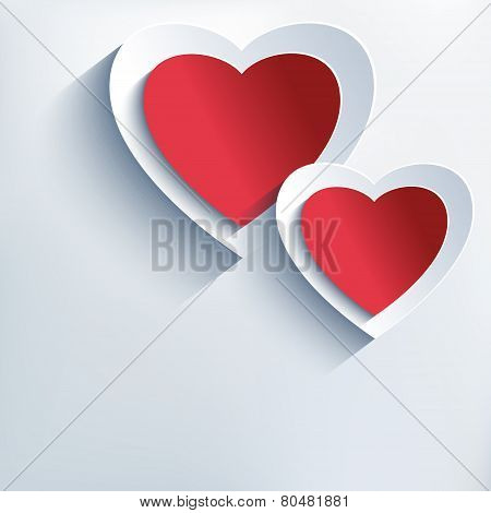Trendy Background With Red - Grey Paper 3D Hearts