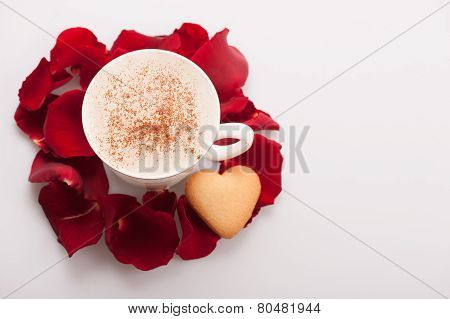 Closeup image of lovely heart shape cookie