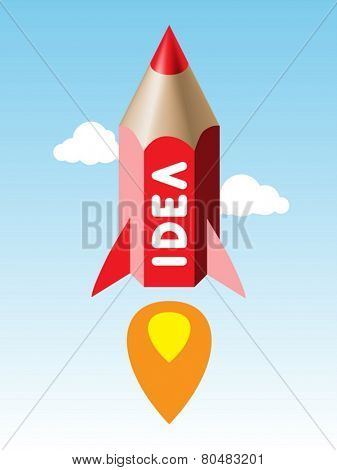 the color pencil rocket. concept of idea start-up