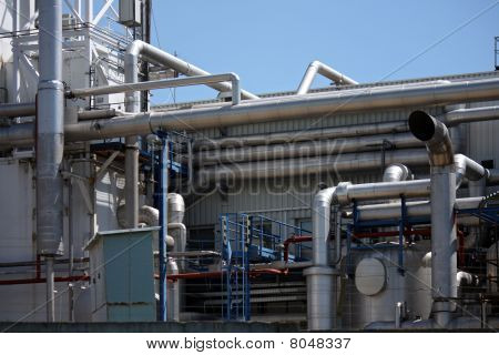 Detail Of Pipe Instalation In Oil Manufacturing Factory