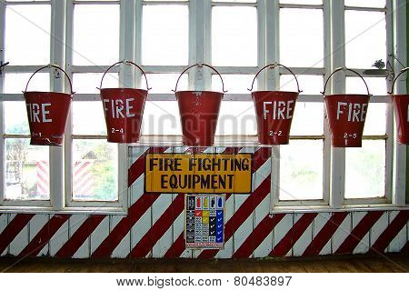 NUWARA ELIYA, SRI LANKA - June 3, 2008: bucket with sand in a tea factory for fire fighting