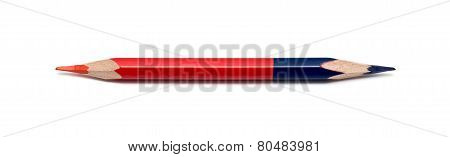 Colored Pencil, Two Sided. Isolated On White Background