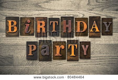 Birthday Party Wooden Letterpress Concept