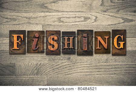 Fishing Wooden Letterpress Concept