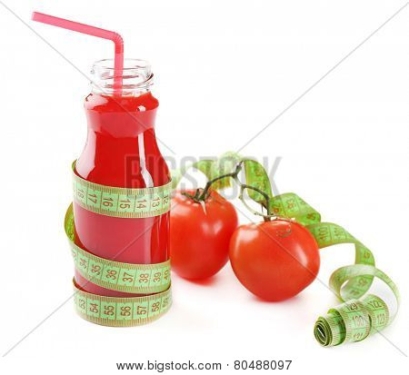Dietary tomato cocktail with centimeter isolated on white