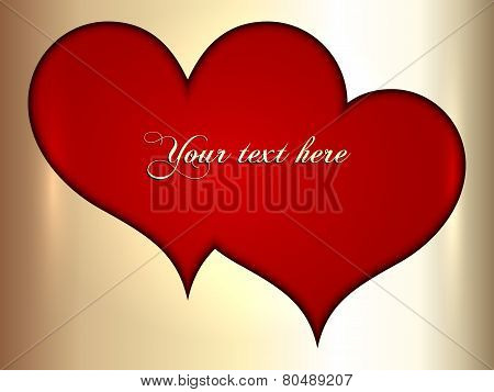 Vector abstract pair of red and golden hearts