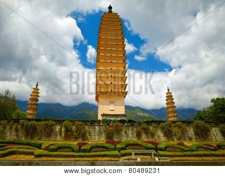 Three Pagodas in Dali. Yunnan province, China