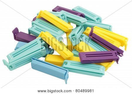 Plastic bag clips Isolated