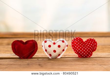 Red Tone Cute Hearts Handmade Craft On Wood Surface