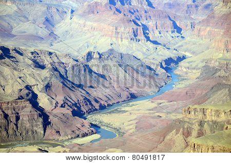 Colorado river in Grand Canyon South Rim