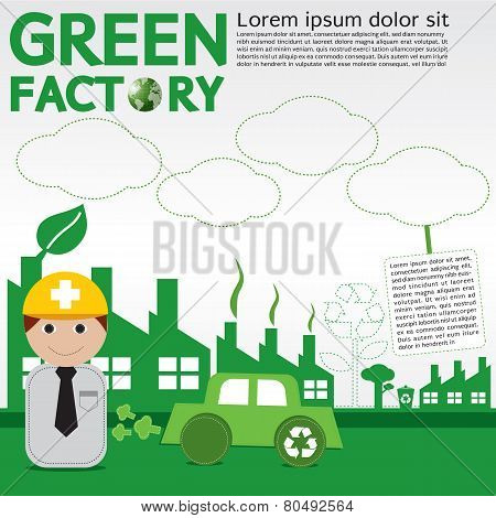 Green Factory Conceptual Illustration.