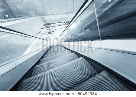 Moving escalator in the business center