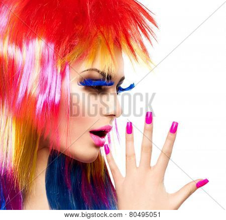 Beauty Fashion Punk Model Girl with Colorful Dyed Hair. Haircut. Colourful Hair. Portrait of a Beautiful Girl with Dyed Hair, professional hair Coloring. Colouring hair