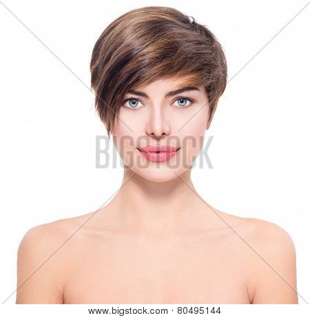 Beautiful young woman with short hair portrait. Attractive girl Face with perfect Clean Fresh Skin close up isolated on white. Beauty model. Spa lady Smiling. Youth and Skin Care Concept