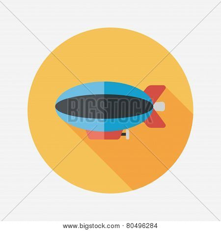 Transportation Airship Flat Icon With Long Shadow,eps10