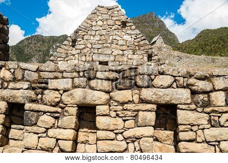 Intricately crafted stonework at Machu Picchu, Peru