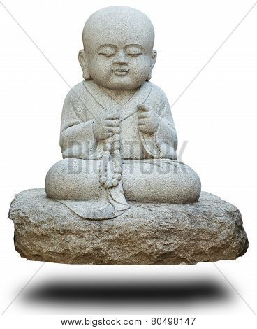 Stone Statue Of Buddhist Monk On White