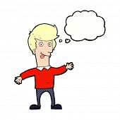 stock photo of sticking out tongue  - cartoon man sticking out tongue with thought bubble - JPG