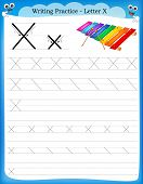 image of letter x  - Writing practice letter X printable worksheet with clip art for preschool  - JPG