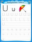 stock photo of kindergarten  - Writing practice letter U printable worksheet with clip art for preschool  - JPG