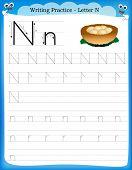stock photo of letter n  - Writing practice letter N printable worksheet with clip art for preschool  - JPG