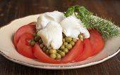 foto of halibut  - Halibut fillet with tomatoes and canned green peas - JPG