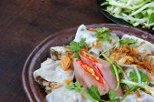 picture of rice noodles  - Vietnamese food Banh Cuon name Rice noodle roll or rolled cake is made from rice batter filled with mushroom pork served with Vietnam pork sausage sliced cucumber bean sprouts and sauce - JPG