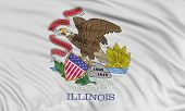 stock photo of illinois  - Rendering of flag of the US state of Illinois with fabric texture - JPG