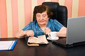 Elderly Adult Woman Reading News
