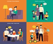 picture of visitation  - Family with children concept flat icons set of social networking - JPG
