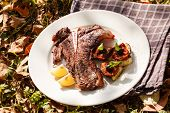 stock photo of flank steak  - grilled steak - JPG
